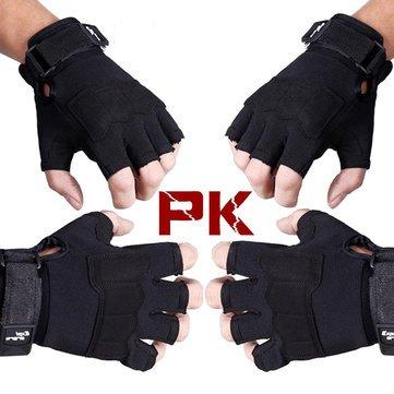 Mens Breathable Tactical Half Finger Gloves-Black