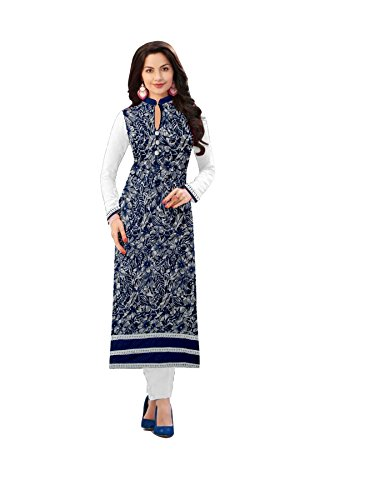 Arawins-Womens-Designer-Clothing-Full-Sleeves-Chinese-Collar-Neck-Navy-Blue-Color-Brasso-Net-Kurti-Kurta-Free-Size-Up-to-2XL-Casual-Wear