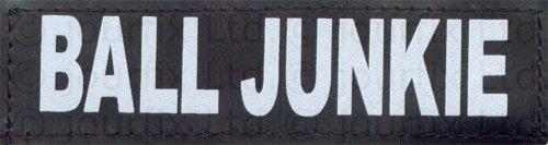 """BALL JUNKIE - 2 logos grande taille, blancs et réfléchissants pour Julius K9 / Logo Logo velcro Logo de rechange pour harnais Power K-9 et IDC (tailles de harnais : """"1"""", """"2"""", """"3"""" et """"4"""") - Format du logo : 5 x 16 cm / grand"""