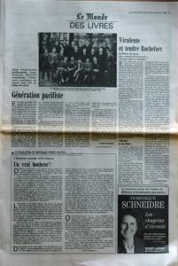 MONDE DES LIVRES (LE) du 23-09-1988 dans generation intellectuelle jean fran+?ois sirinelli reconstitue l'itineraire politique de jeunes gens nes au debut du siecle la promotion 1924 de l'ecole normale superieur de la rue d'ulm au premier rang de droite a gauche aron sartre puis avant dernier de la rangee nizan generation pacifiste - thomas ferenczi le feuilleton de bertrand poirot delpech de l'academie fran+?aise - l'exposition coloniale d'erik orsenna - un vrai bonheur virulent et tendre...