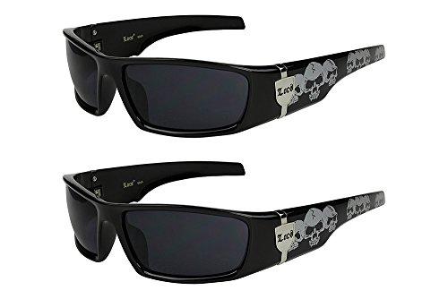 2er Pack Locs 9069 X 06 Sonnenbrillen Herren Damen Männer Brille - 1x Modell 04 (schwarz glänzend - Skull-Design/schwarz getönt) und 1x Modell 04 (schwarz glänzend - Skull-Design/schwarz getönt)