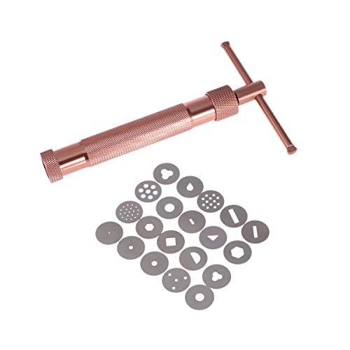 BESTONZON Fondant Presse Tonpressen Pistole mit 20 Formen Zuckerpaste Extruder Maschine Tortendeko Werkzeug (Roségold)