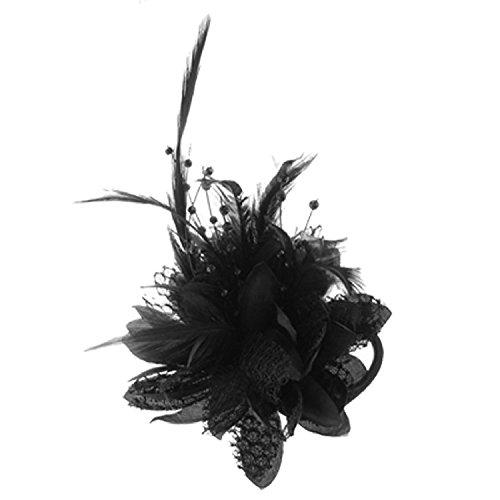 Brosche - SODIAL(R)Blumen-Entwurf Feder Dekor Haar Band Riegel Sicherheitsnadel Brosche Schwarz