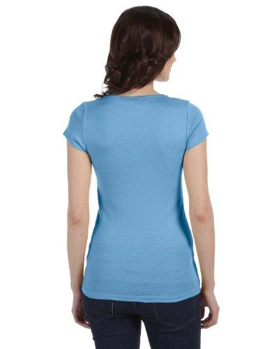 Bella femme Margot Sheer Rib T-Shirt à manches courtes col échancré Bleu océan