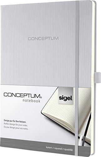 Sigel CO642 Notizbuch, ca. A4, kariert, Hardcover, hellgrau, 194 Seiten, CONCEPTUM - weitere Modelle