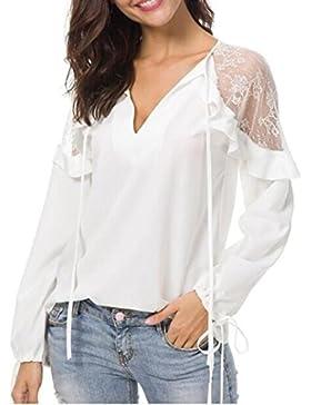 Lenfesh Camisetas Mujer Primavera y Verano, Elegante Blusa con Hombros Descubiertos Camisetas de Cuello EN V de...