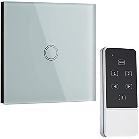 Biard LED blancas resistente a los arañazos de cristal Touch interruptor de luz de pared 1Gang mando a distancia con indicador LED | fácil de instalar Onoff interruptor de luz E-Start