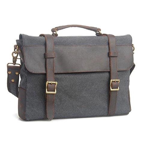 Fashion Plaza American europeo e retro, da uomo, in tela con borsa da spalla in pelle, 99 x 7,5 x 28 cm, C5099, grigio (Grigio) - C5099 grigio
