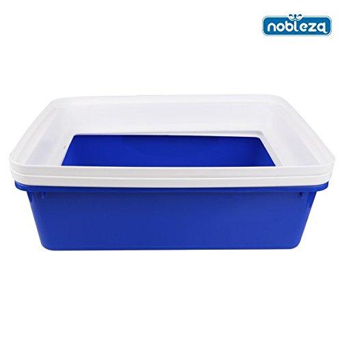 Nobleza 020973 - Bandeja higiénica para gatos descubierta y rectangular de color azul. Medidas: 43 cm x 33 cm x 17 cm.