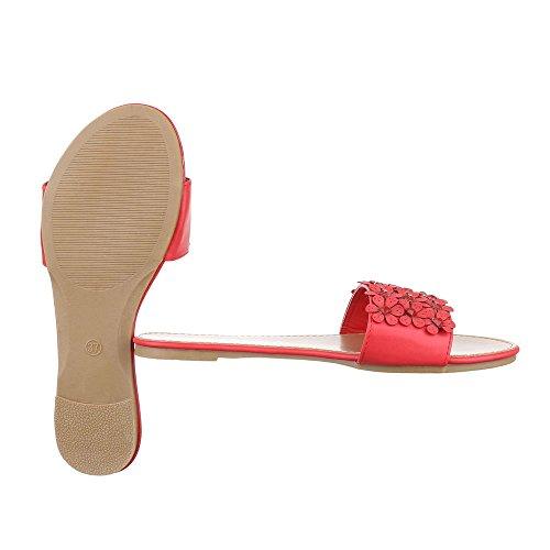 a2e6d003dafa75 Pantoletten Damen Schuhe Jazz   Modern Strass Besetzte Ital-Design Sandalen    Sandaletten Rot ...