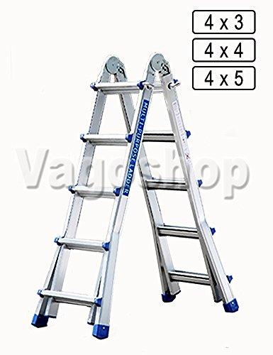 4x5 Aluminium Teleskopleiter Aluleiter Multifunktionsleiter Klappleiter Anlegeleiter