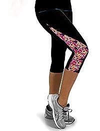 60c030510fc5 LEvifun Leggins Sportivi Donna Vita Alta Pantaloni Palestra Yoga Stampa  Cuciture a Triangolo Lungo in Sette