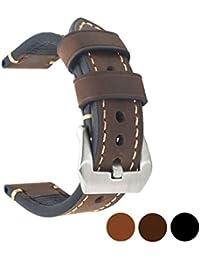 Ersatz-Uhrenband, echtes Leder, für Armbanduhr, Vintage-Stil, für Herren/Frauen, mit Edelstahlschnalle, schwarz/braun, 20mm/22mm/24mm