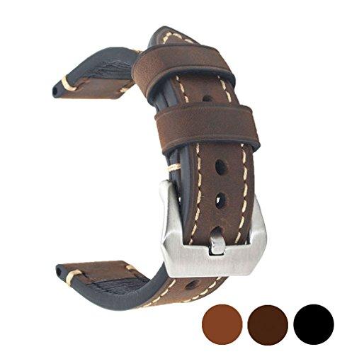 Ersatz-uhrenarmbänder Schwarz (Ersatz-Uhrenarmband aus echtem Leder, für Herren und Damen, mit Edelstahl Schnalle, Schwarz, Braun, Breite 20mm, 22mm, 24mm, dunkelbraun, 22 mm)