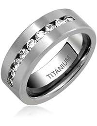 Bling Jewelry Titanio Hombre Channel Cubic Zirconia Anillo de Boda 8 mm