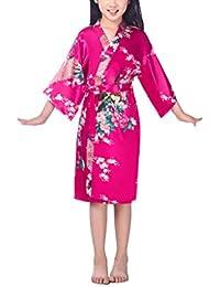 ce4732cac7 xingyueshop Children Girls Silk Robes Satin Robe Short Floral Peacock Japan  Kimono Stain Sleepwear