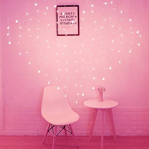 Luci della stringa della tenda della finestra del led luci fiammelle a forma di cuore 128 led 2m × 1.5m 8 modalità con spina indoor outdoor bar party giardino di nozze decorazione della casa di natale,pink
