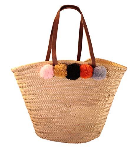 geflochtene Tasche Modell Pompom von Haus&Tempel, stabile und hochwertige Einkaufstasche, Shopper, Strandtasche - Ibiza-Korb, handgeflochten, hohe Qualität aus Doumblatt mit echten Ledergriffen