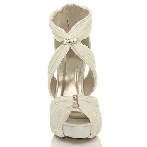 Damen Hoher Absatz Griechisch Plateauschuhe Abend Hochzeit Braut Sandalen Größe Elfenbein