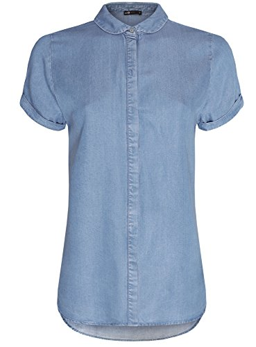 oodji Ultra Femme Chemise en Lyocell à Manche Courte Bleu (7500W)