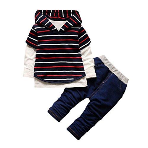 Longra Kinder Baby Mädchen Jungen Sports Kleidung Set mit Streifen Kapuzenpulli Kinder Hoodie Sweatshirts + Langarmshirts + Lang Hosen Kindermode Kinderkleidung (0-3Jahre) (90CM 18Monate, Red) (Sport Spieler Kostüme)
