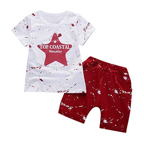 Toddler Ensembles de Bébé Kids❤️Robemon Kids Unisex Garçons Filles T-Shirt Star Tops Shorts Outfits Vêtements de Tout-Petit Ensembles