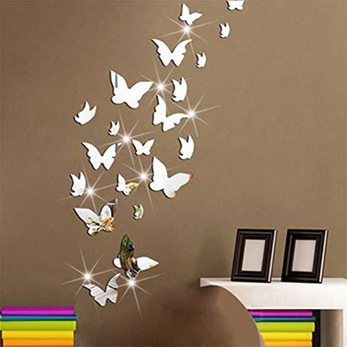 IsEasy DIY Selbstklebend Wandtattoos Schmetterlings Wandspiegel, Wasserdicht Wandaufkleber,Wall Sticker für Wohnzimmer Schlafzimmer Geschenke Kinderzimmer