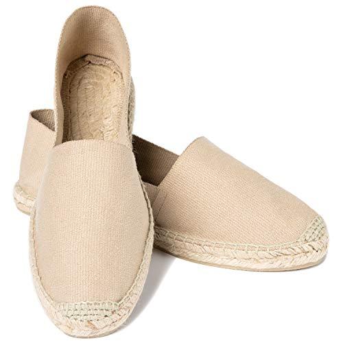 ESPADELLE Damen Slip-on Espadrilles aus Baumwolle mit Schuhbeutel, Camel, 37 | Handmade in Spain