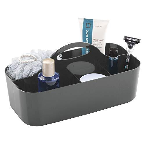 mDesign Duschkorb mit 6 Fächern - tragbarer Aufbewahrungskorb aus Kunststoff für Badaccessoires - Duschablage für Duschgel, Shampoo, Rasierer und Co. - anthrazitgrau