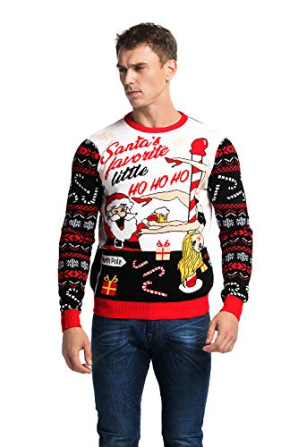 You Look Ugly Today Herren Weihnachtspullover Sweater Pullover Pulli Xmas Sweatshirt Rentier Weihnachtspulli Hoodie mit weihnachtlichen Motiven