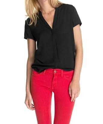 edc by ESPRIT Damen Regular Fit Bluse Basic, Gr. 34 (Herstellergröße: XS), Schwarz (BLACK 001)