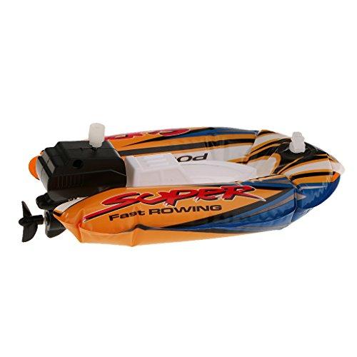 Sharplace Aufblasbare Wind up Schnellboot Schlauchboot, Pool Badspielzeug Wasserspielzeug für Kinder, Orange, 18 x 11,5 cm