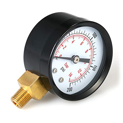 Fesjoy Dual Scale Mechanische Manometer 0~200 psi 0~14bar 1/8 zoll NPT Bottom Mount Pool Filter Aquarium Wasser Luftdruckprüfer -