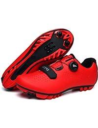 Zapatillas De Bicicleta De Montaña, Hombre Calzado De Bicicleta Zapatos De Bicicleta Antideslizantes Transpirables para Ciclismo De Carretera Y Ciclismo De Montaña,Rojo,43 EU