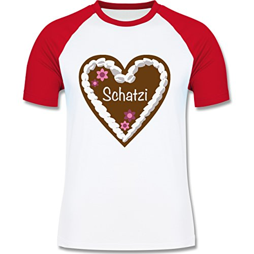 Oktoberfest Herren - Lebkuchenherz Schatzi - zweifarbiges Baseballshirt für Männer Weiß/Rot