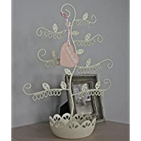 sass & belle - Organizador de joyas con forma de árbol (metal), color crema