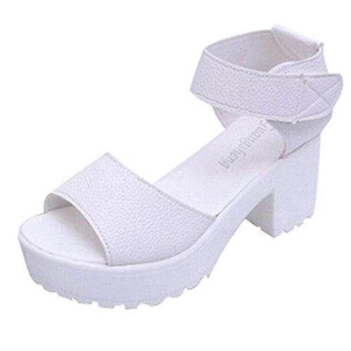 Minetom Femmes Ankle Strap Bout Ouvert Talon Plateformes Haut Sandales Gladiateur Romaines Chaussures