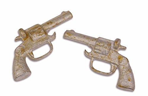 Flaschenöffner Deko Revolver Pistole 2er Set Antik-Look Gusseisen (Revolver Flaschenöffner)