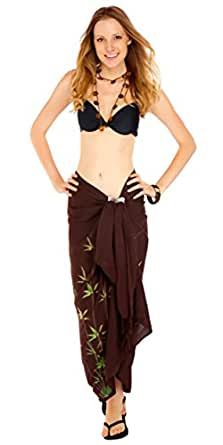 1 World Sarongs Womens Cover-Up Sarong with a Asian Floral Design in Brown