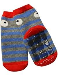 Weri Spezials Unisexe Bebes et Enfants ABS Eponge PantoufleChaussons Chaussettes Antiderapants Gris-Rouge
