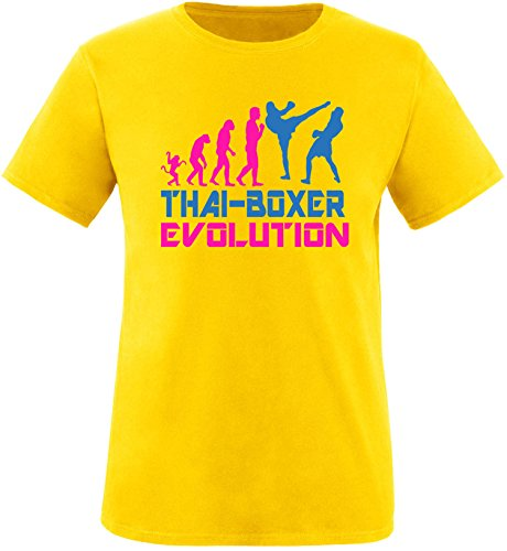 EZYshirt® Thai Boxing Evolution Herren Rundhals T-Shirt Gelb/Pink/Blau