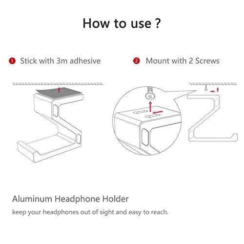 Kopfhörer Ständer, GVDV Kopfhörerhalterung aus Aluminium unter Schreibtisch Headset Halterung Kopfhörer halter Standplatz für alle Headset Kopfhörer (Schwarz) - 5