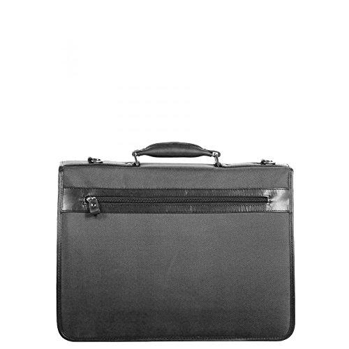 Charmoni-Valigetta con 3 soffietti-Zaino in Nylon con accessori, in pelle di vacchetta nuovo Elton Nero