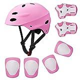 SKL Set di Casco, Ginocchiere, gomitiere e Guanti in Gel per Bambini, per Hoverboard, Scooter, BMX e Bicicletta (Rosa)