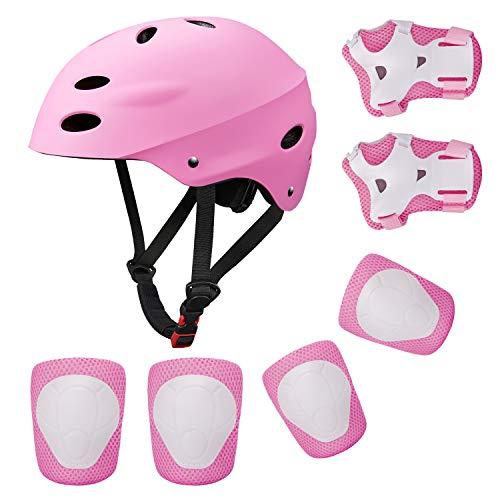 Topfire Kinder Scooter BMX Bike Helm, Hand-Knie, Ellenbogen Pads und Gel Pads - Rosa