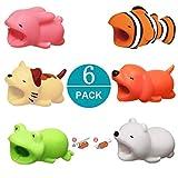 Newseego Kompatibel iPhone Kabel Schutz Ladegerät Saver Kabel Chevers Kabel Niedlich Tier Biss Kabel Zubehör Schützt - 6 Pack (Weißer Bär, Hund, Kaninchen, Frosch, Katze, Clownfish)