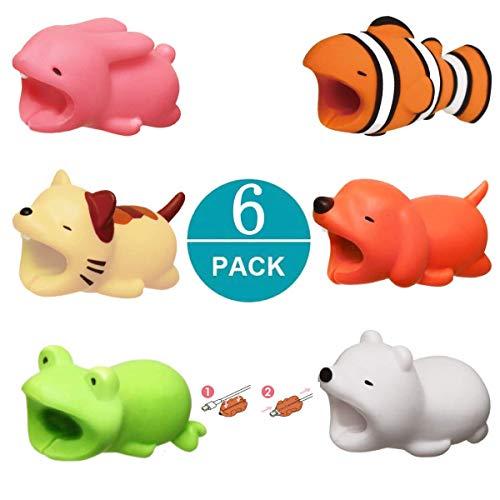 Newseego Kompatibel iPhone Kabel Schutz Ladegerät Saver Kabel Chevers Kabel Niedlich Tier Biss Kabel Zubehör Schützt - 6 Pack (Weißer Bär, Hund, Kaninchen, Frosch, Katze, Clownfish) -