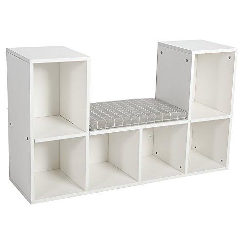 Holz-Würfel Cube mit 6Bücherregal Aufbewahrung mit Würfel-Organisator mit Hocker-Sitz, mit Kissen weiß