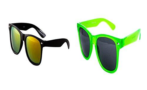 2 er Set Nerd Sonnenbrille Nerd Brille Feuer verspiegelt Schwarz + Neon Grün Transparent
