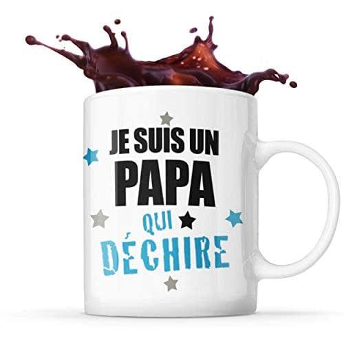 Mug Life Mug Papa Cadeau « Je suis un papa qui déchire » | Résistant au Lave-Vaisselle et Micro-Ondes | Hauteur : 9,7 cm – Diamètre : 8,2 cm | Capacité 325 ML